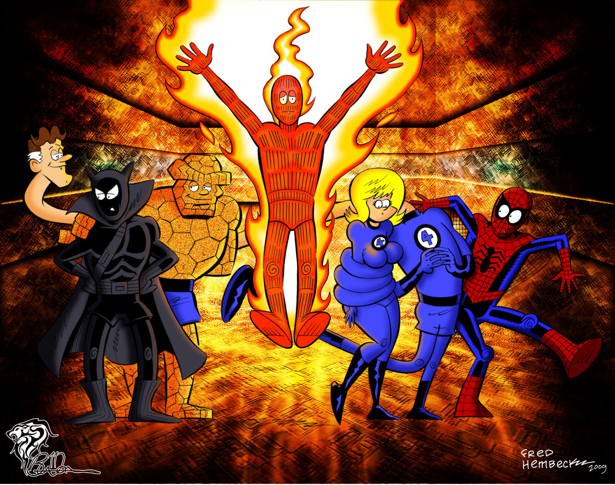 Fantastic Four with Black Panther and Spiderman [Original: Fred Hembeck] Colored