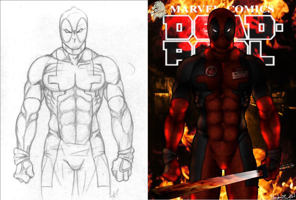 Deadpool: Sketch Vs Finished Image Comparison